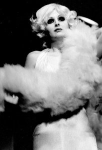 "Candy Darling as Marilyn Monroe in some commercial production of TOM EYEN's ""The White Whore and The Bit Player."""