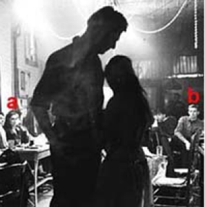 "Unidentified Actors and Play, 1961. In audience, however, ""a"" is JANET HESSLER, ""b"" BILL MITCHELL. Photo by Ben Martin."