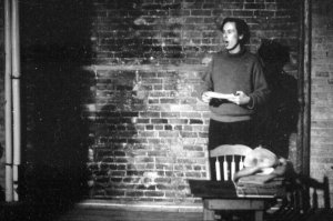 "1965: ME emceeing the ""BbAaNnGg!!"" Benefit to save La Mama, bedeviled by expenses and city agencies. P.S.: We did! Photo JAMES D. GOSSAGE. PAUL FOSTER and I, who organized it, wanted to call it ""Bang, with Our Gang,"" but neither the Village Voice nor ELLEN STEWART would hear of something so suggestive."
