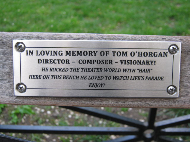 Photo by MARI-CLAIRE CHARBA of TOM O'HORGAN's favorite Union Square people-watching bench. TOM'S MEMORIAL BENCH LOCATION: UNION SQUARE PARK....(WHICH COVERS WEST 14TH TO 17TH STREET). THE BENCH IS LOCATED ON THE WEST SIDE OF THE PARK NEAR THE 16TH STREET ENTRANCEClick on the above^ image of the bench to see a weird playlet about this bench. Click HERE to see Tom on this bench.