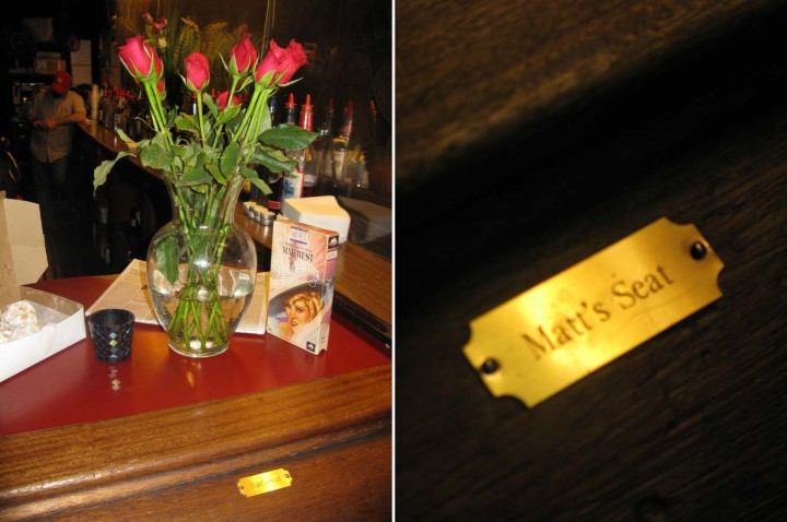 "MATT BAYLOR's favorite things displayed after his death at Marie's Crisis, and a tag on his favorite bar stool. Matt performed there as a glitter character called ""Flash"" for many years. Photos from PETER RATRAY."