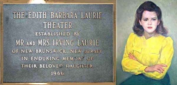 You can see lovely EDITH LAURIE's photo with actress CLARA HOOVER in Ms. Laurie's 1964 Cino show, The War Against Women, in the right picture in the third row on this PAGE. It seems Ms. Laurie did not live long after that, for in 1966 her parents dedicated the Edith Laurie Experimental Theater in her memory at Brandeis, where this portrait hangs.Painting: Aaron Berkman.