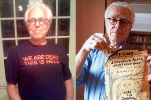 Two JOHN GUAREs: in a t-shirt of my design,and with the torn poster for his first Cino show.